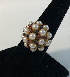 VINTAGE 14KT YELLOW GOLD CLUSTER PEARL RING