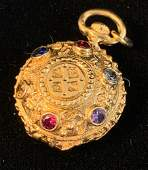 14KT YELLOW GOLD CHARM PENDANT W/ MULTICOLORED