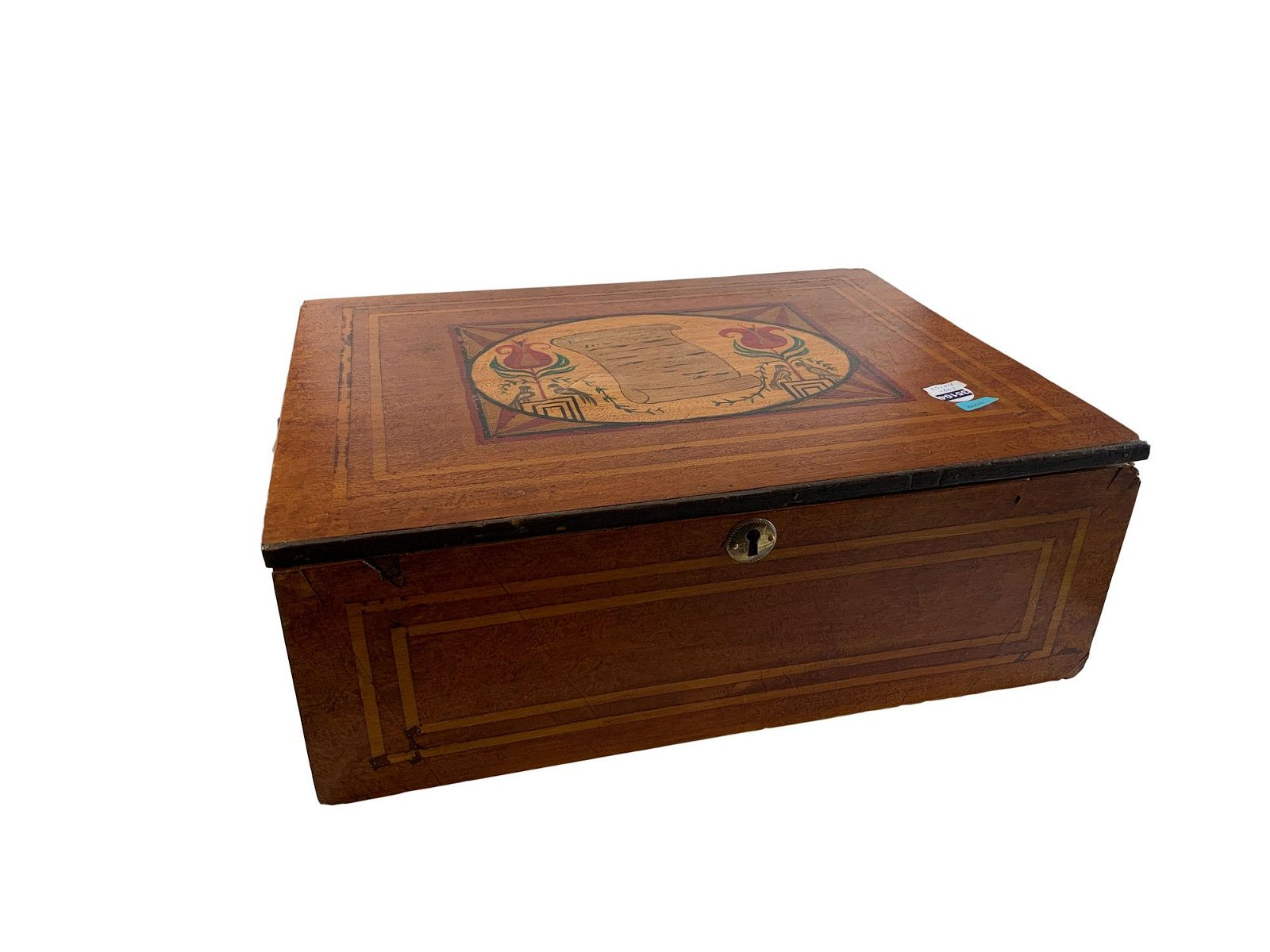 MAHOGANY LAP DESK WITH MAPLE INLAY AND DECORATED TOP,