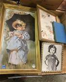 3 FRAMED PICTURES AND SHIRLEY TEMPLE BOOK