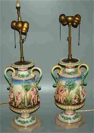 PR CAPODIMONTE TABLE LAMPS ON MARBLE BASES 25 1/2