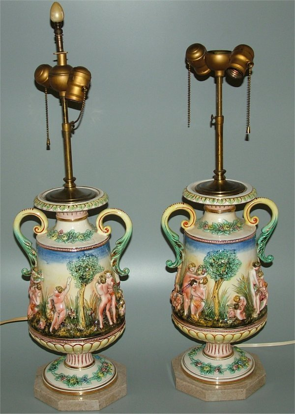 5019: PR CAPODIMONTE TABLE LAMPS ON MARBLE BASES 25 1/2