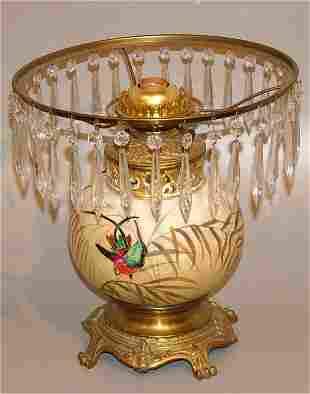 CHINA OIL LAMP W/BRASS BASE & PRISMS ELECTRIFIED