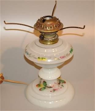MILK GLASS TABLE LAMP BASE W/HNDPTD FONT & BASE 1
