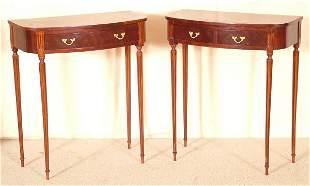 "PR MAHOGANY 2 DRAWER TABLES W/FLUTED LEGS 27""L X"