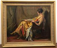 EARLY 20THc OIL ON CANVAS PORTRAIT OF SEATED WOMAN.
