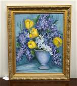 M J CHAPLIN OIL ON BOARD TULIPS AND LILACS SIGNED