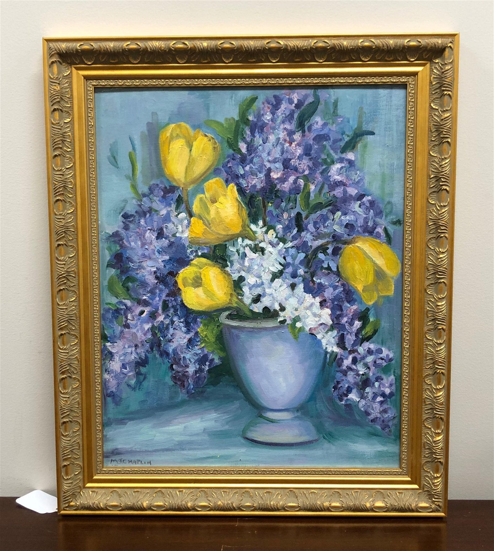 M. J. CHAPLIN OIL ON BOARD TULIPS AND LILACS. SIGNED