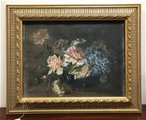 EARLY 20THc OIL ON CANVAS FLORAL STILL LIFE WITH ROSES