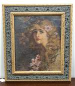 OIL ON CANVAS PORTRAIT OF WOMAN WITH BLONDE HAIR AND