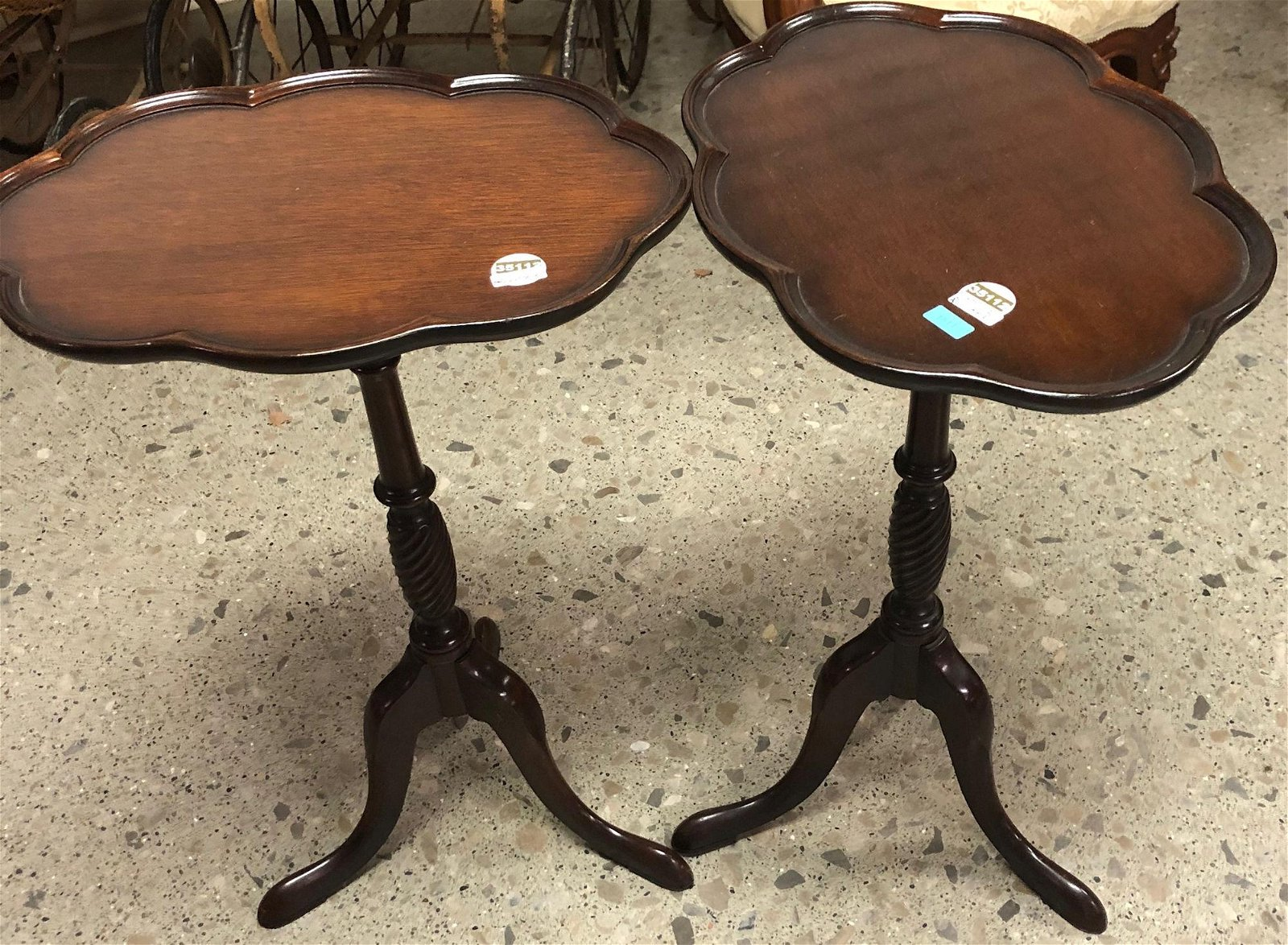 TWO SMALL MAHOGANY SHAPED TOP TABLES WITH TRIPOD BASES