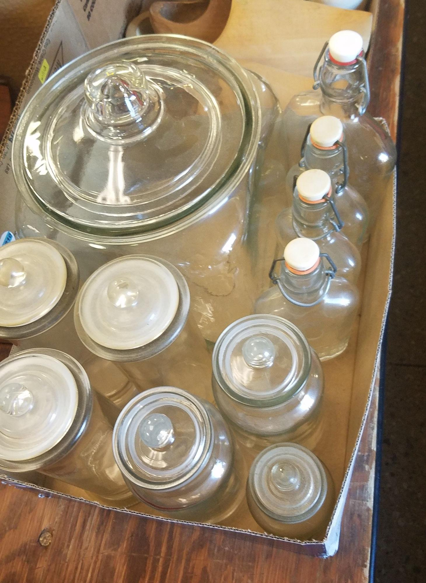 2 BOX LOTS CLEAR GLASS CANISTERS, CORKED BOTTLES,