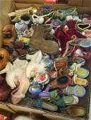 3 BOX LOTS WITH CHRISTMAS SHOE ORNAMENTS LARGE GLASS