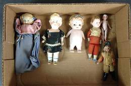 """(6) SMALL ANTIQUE PAINTED EYE DOLLS INCLUDING 4"""" AND"""