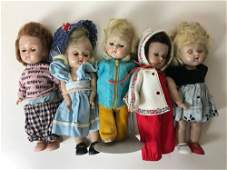 """LOT OF (5) 8"""" VINTAGE VOGUE GINNY DOLLS; SOME IN TAGGED"""