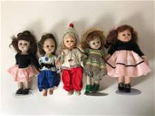 """LOT OF (5) 8"""" VINTAGE VOGUE GINNY AND GINNY-TYPE DOLLS;"""
