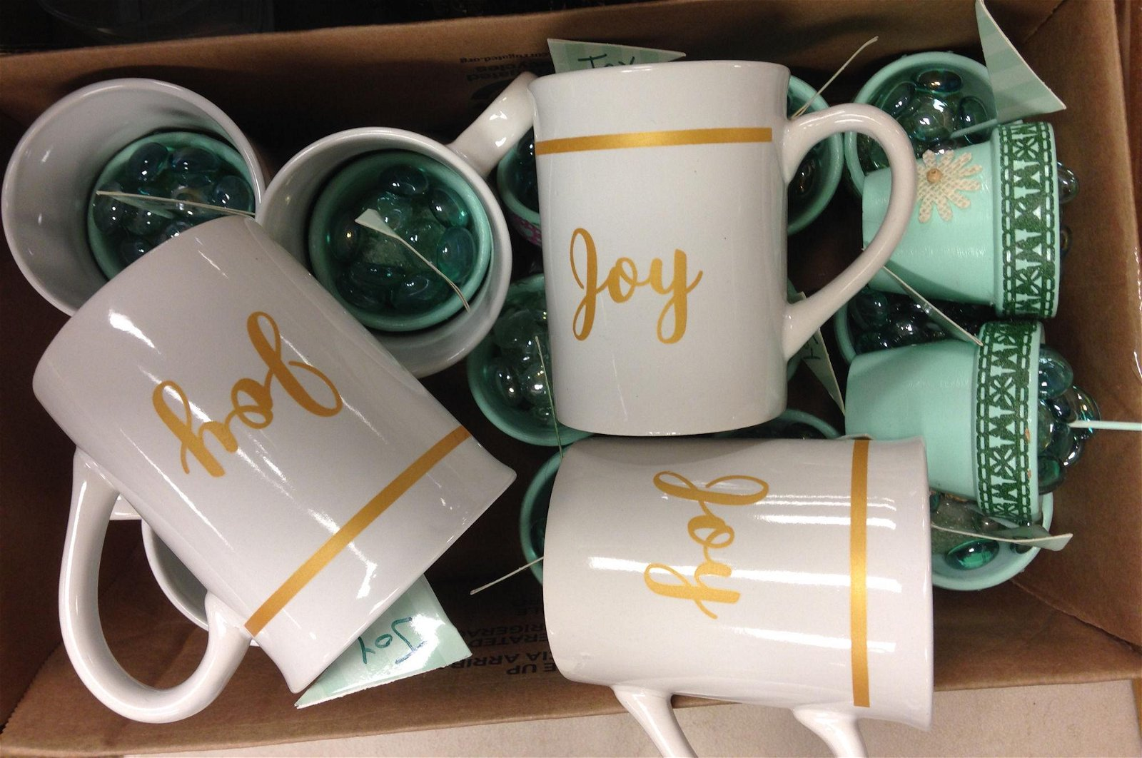 """3 BOX LOTS WITH MISC CLEAR GLASS CUPS, SHREK CUP, """"JOY"""""""