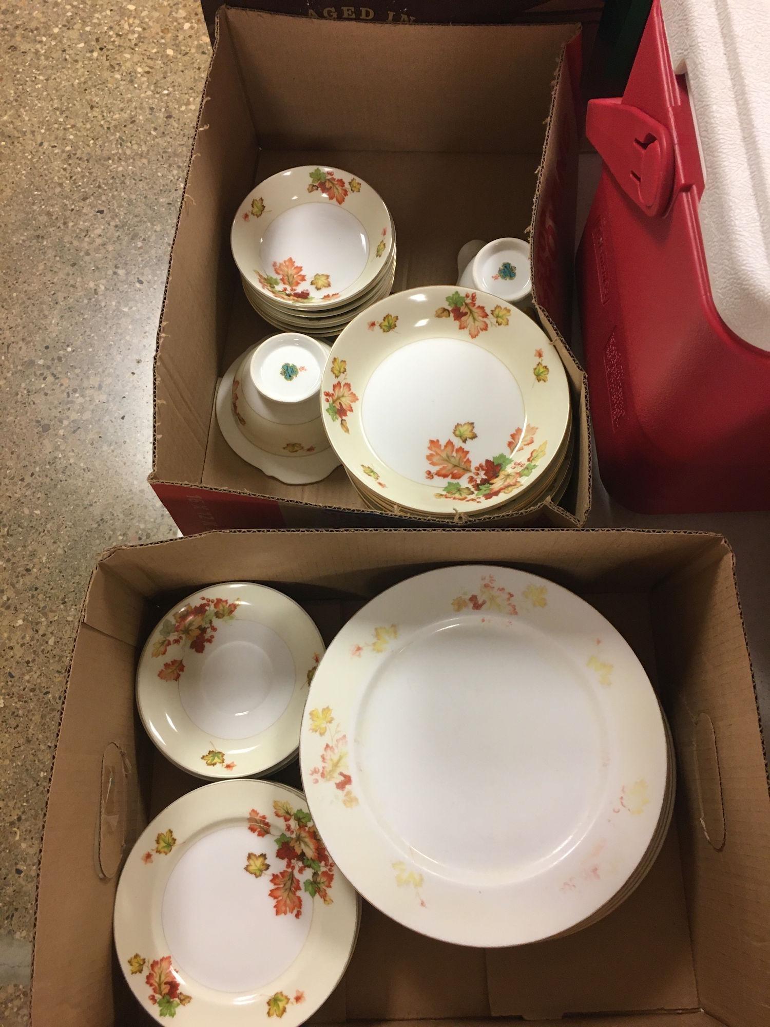 2 BOX LOTS OF MEITO CHINA FALL PRINT DISH SET