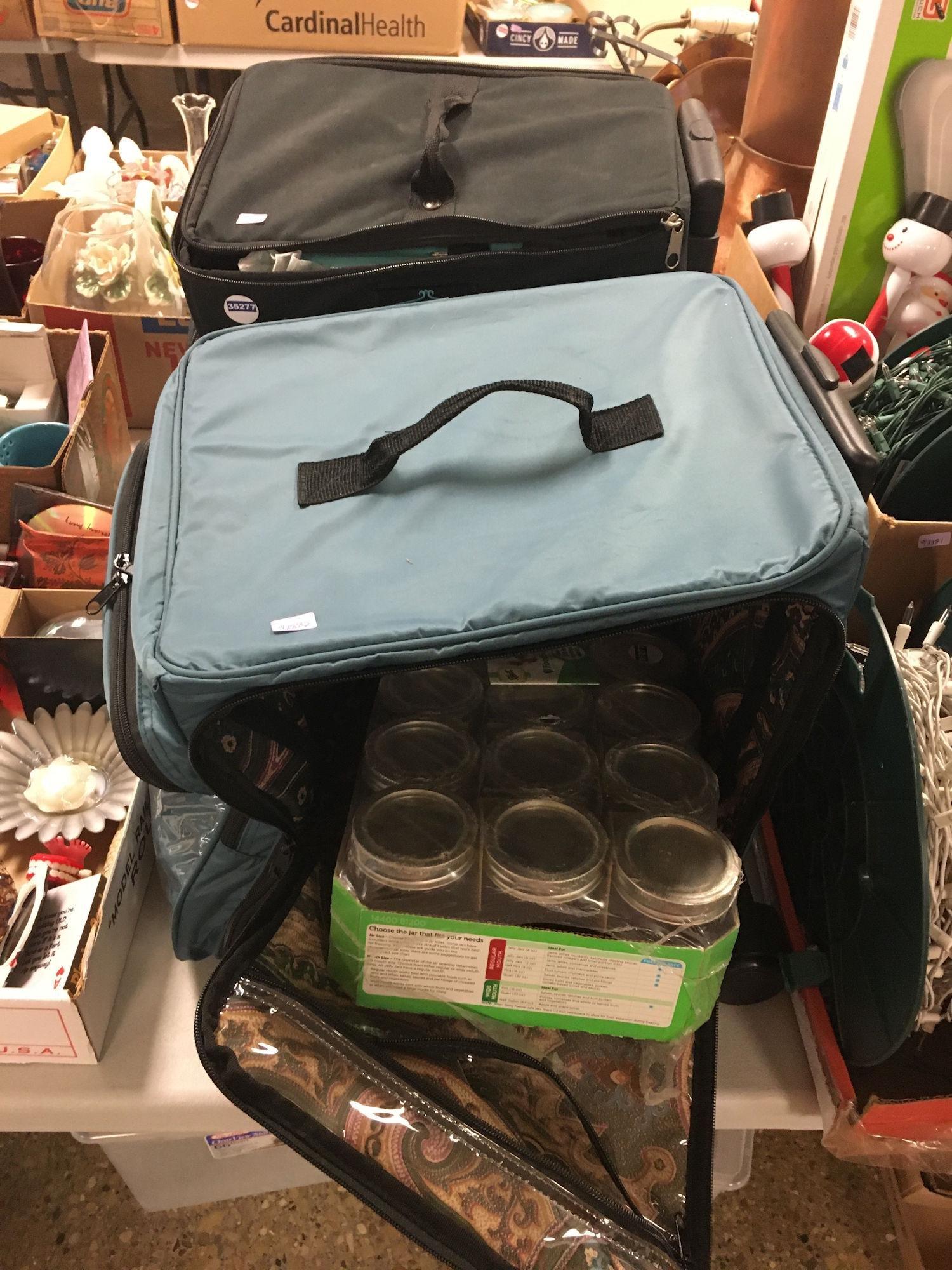2 TRAVEL CASES AND MASON JARS