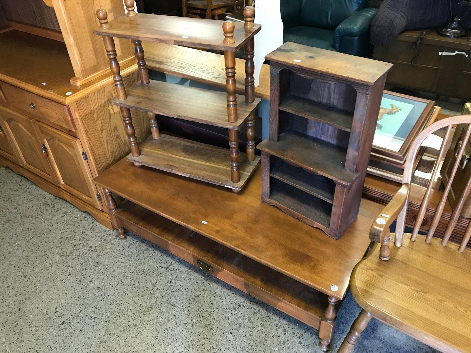 COFFEE TABLE, DOLL MINIATURE HUTCH, AND WODEN SHELVING