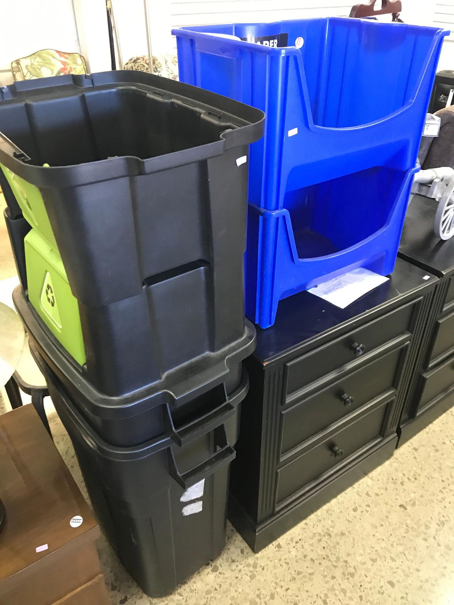 4 PLASTIC RECYCLING CONTAINERS