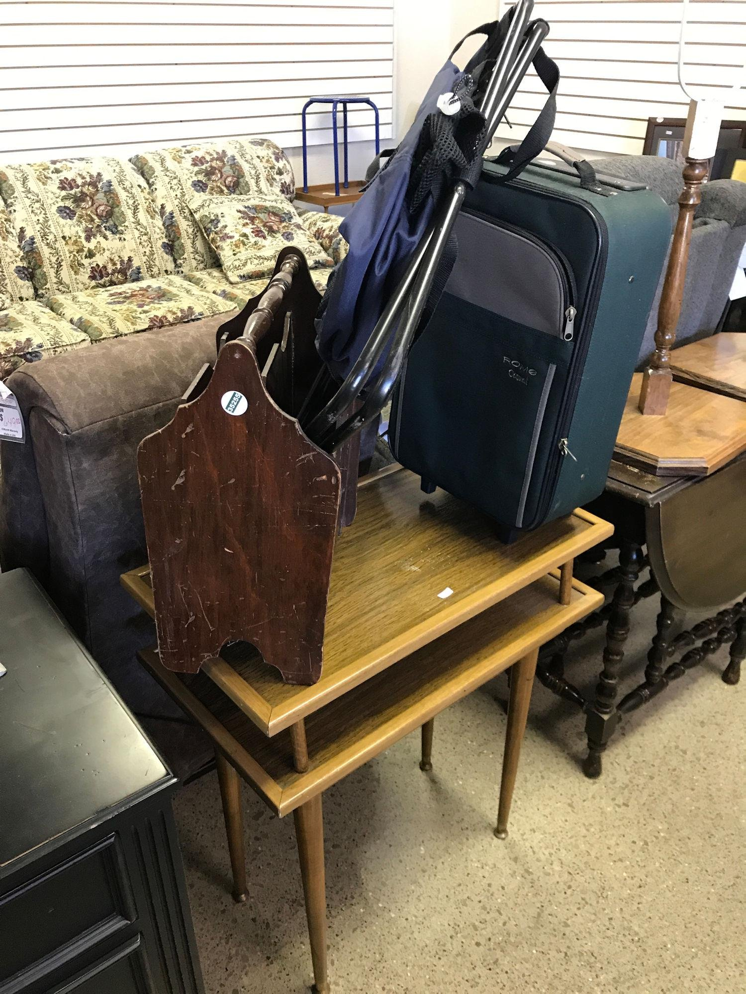 WOODEN STAND, MAGAZINE RACK, SUITCASE, PORTABLE STOOL