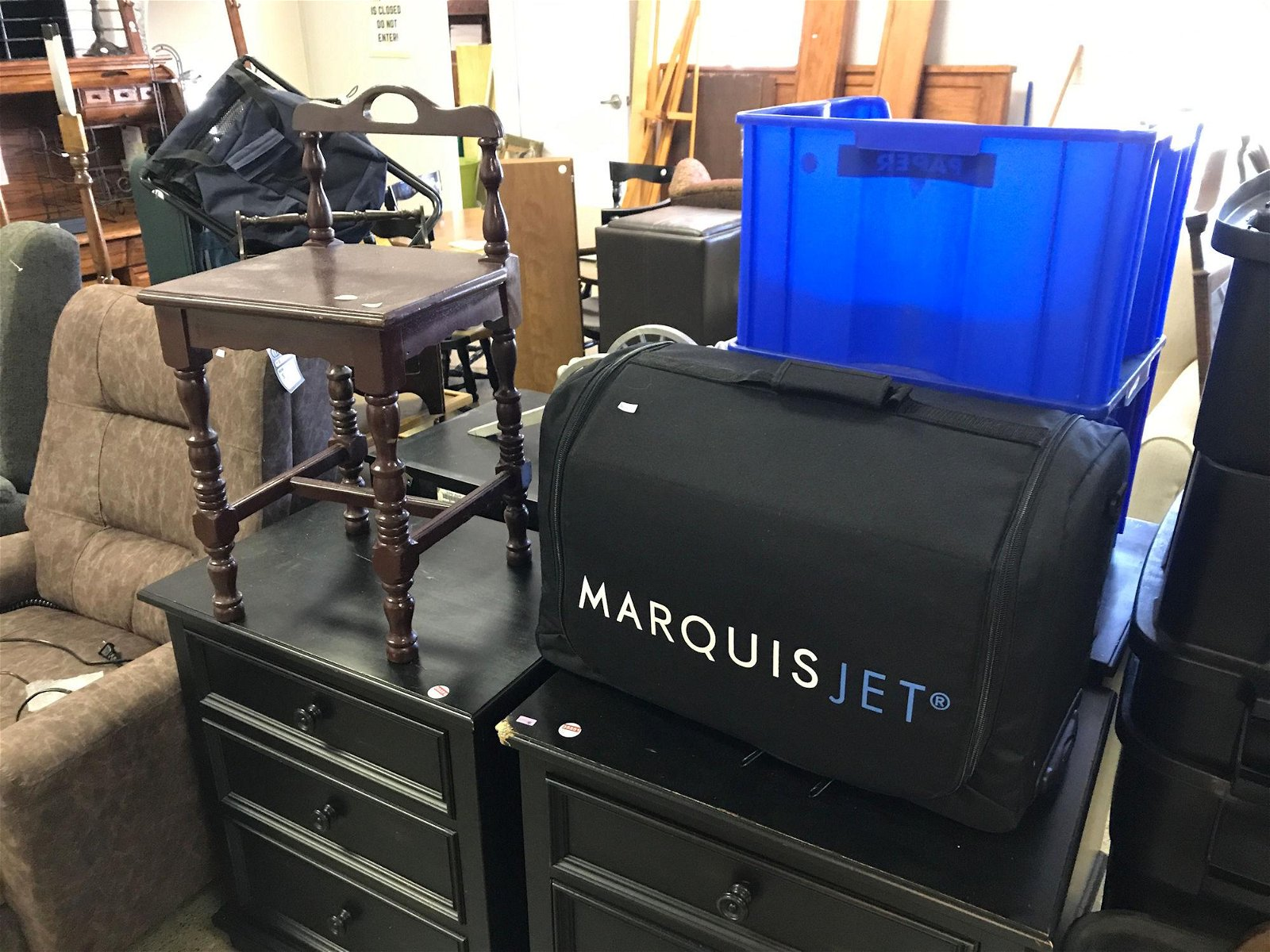 CHILD'S CHAIR AND SUITCASE