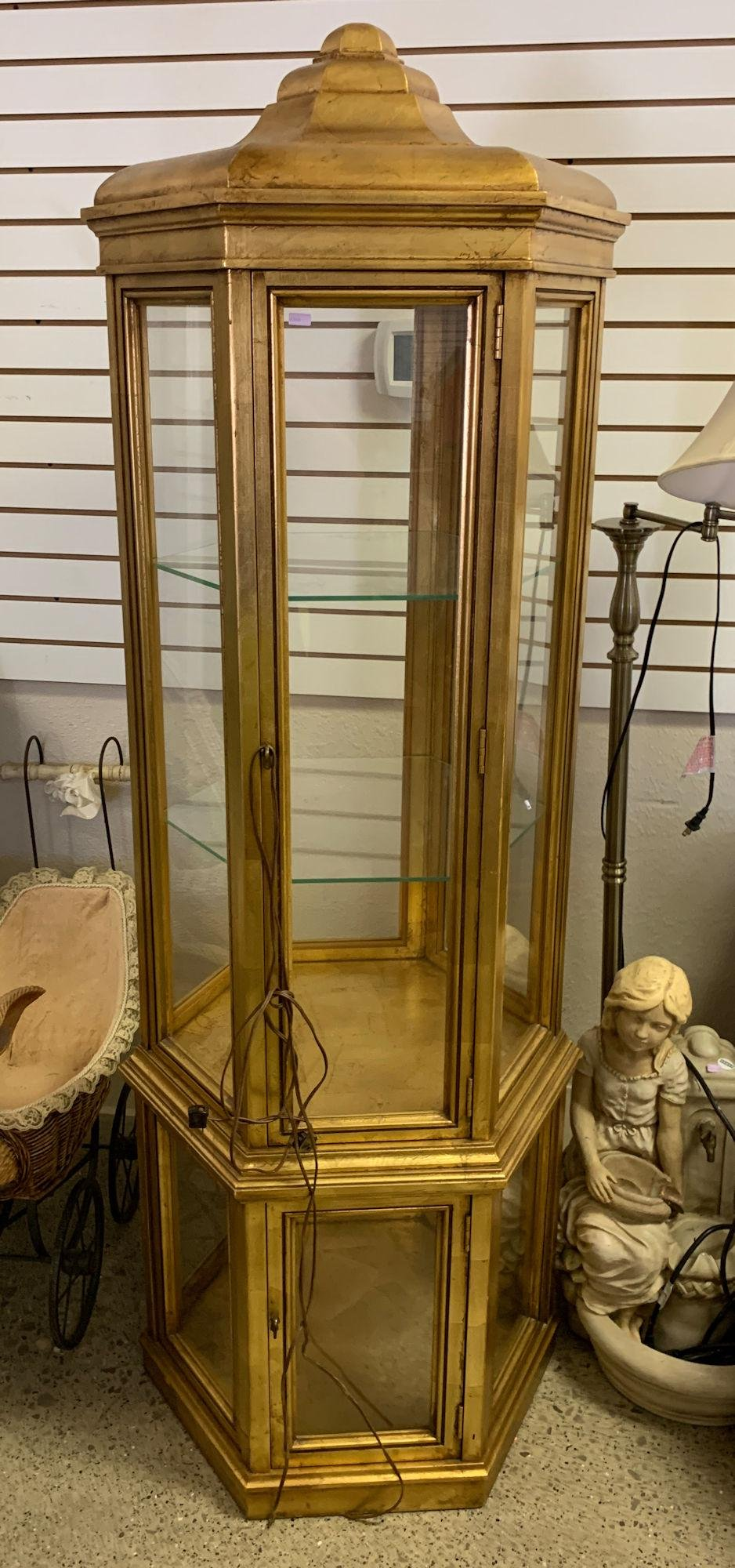 HEXAGONAL DISPLAY CABINET PAINTED GOLD