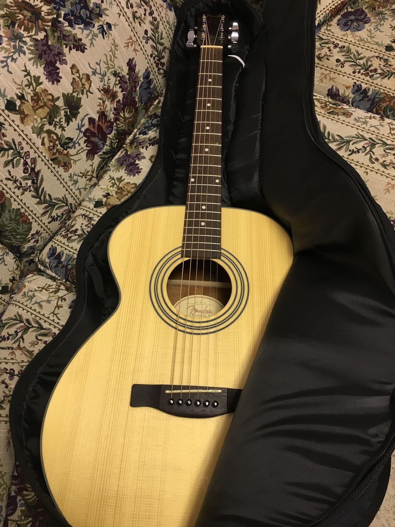 FENDER ACCOUSTIC GUITAR WITH CASE AND GUITAR STAND