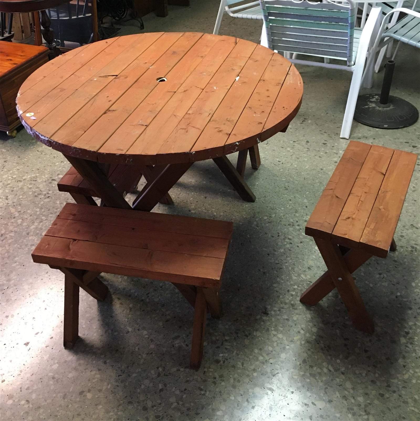 WOODEN PATIO TABLE AND 4 SEATS