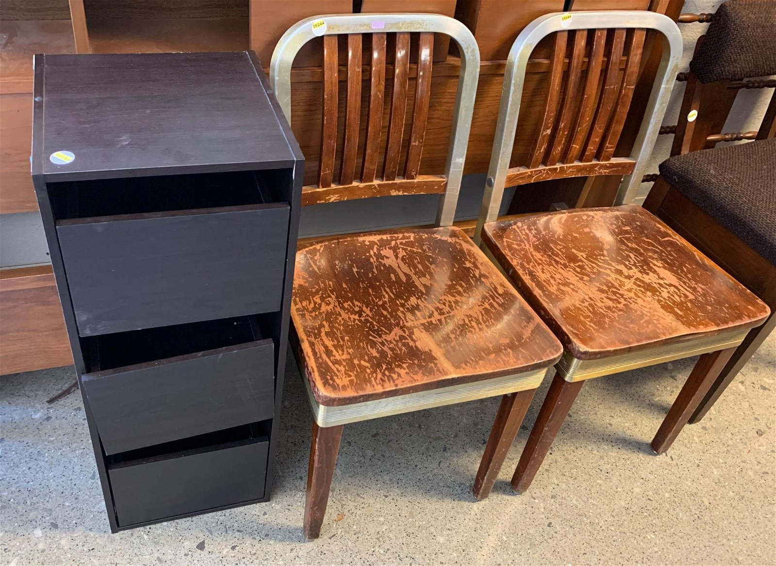 2 CHAIRS, 3 DRAWER CABINET