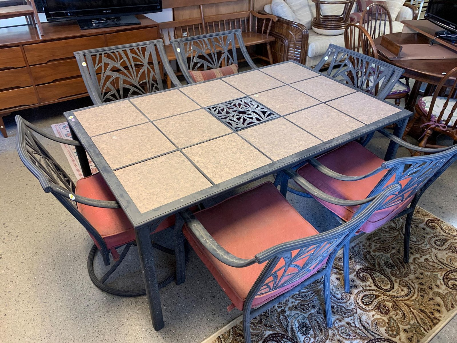 PATIO TABLE, WITH GRANITE INSERTS, 6 CHAIRS