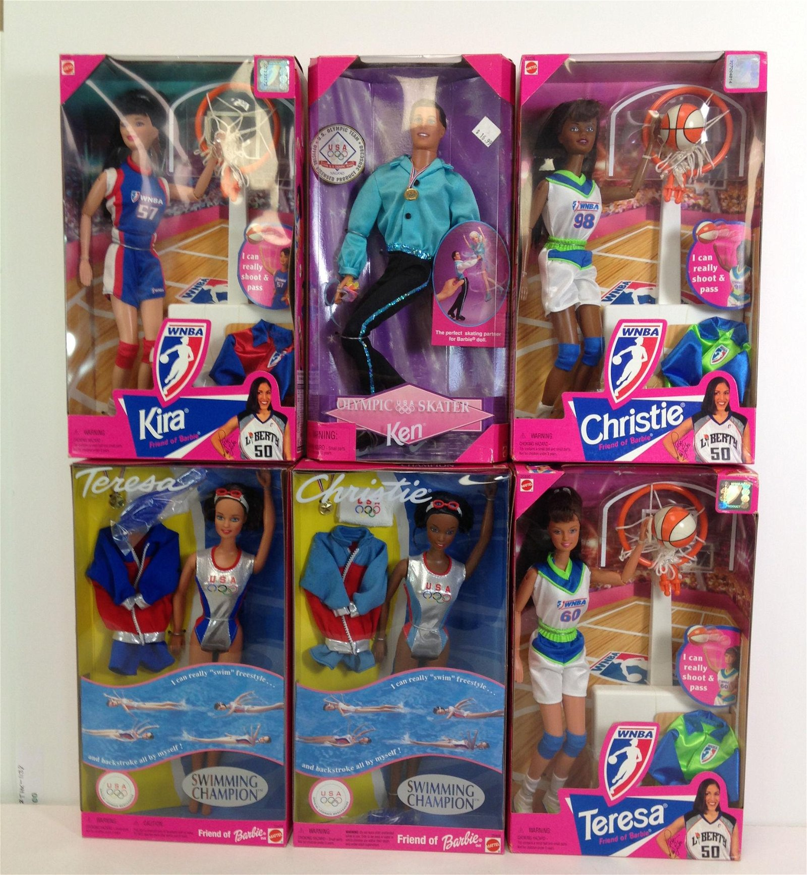 LOT (6) SPORTS RELATED BARBIE AND FRIENDS NRFB.