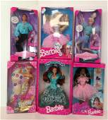 """(6) NRFB BARBIE AND FRIENDS INCLUDING """"OLYMPIC SKATER"""""""