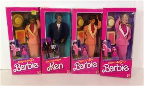 """(4) NRFB VINTAGE """"DAY-TO-NIGHT"""" BARBIE AND FRIENDS"""