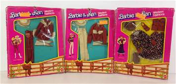 "(3) NRFB VINTAGE ""BARBIE & KEN WESTERN FASHIONS"""