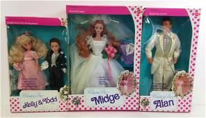 "(3) NRFB ""WEDDING DAY"" BARBIE FRIENDS INCLUDING MIDGE,"