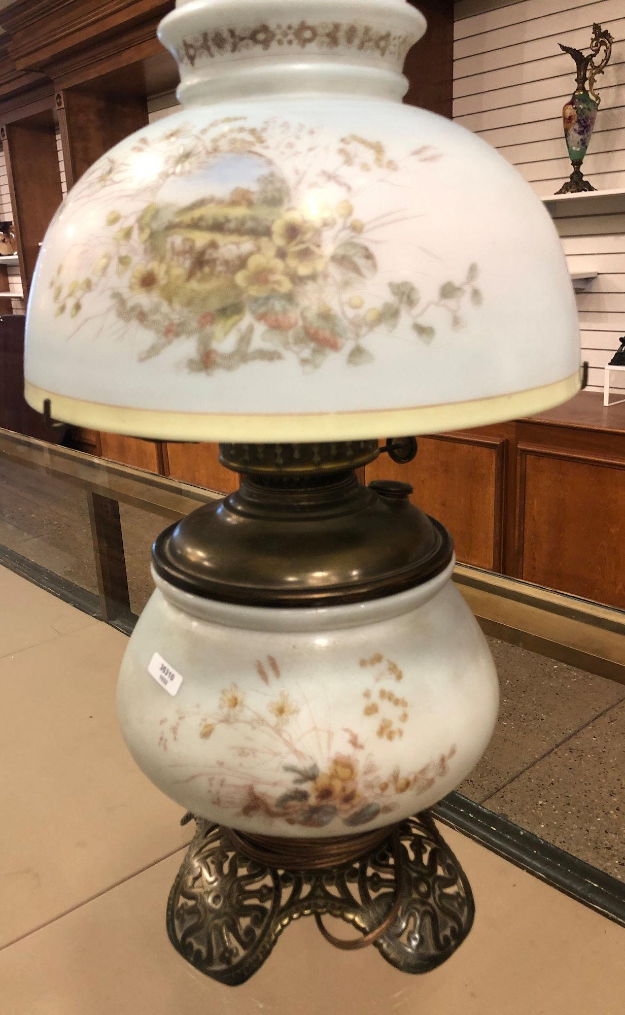 VICTORIAN GLASS LAMP WITH HANDPAINTED FONT AND SHADE,