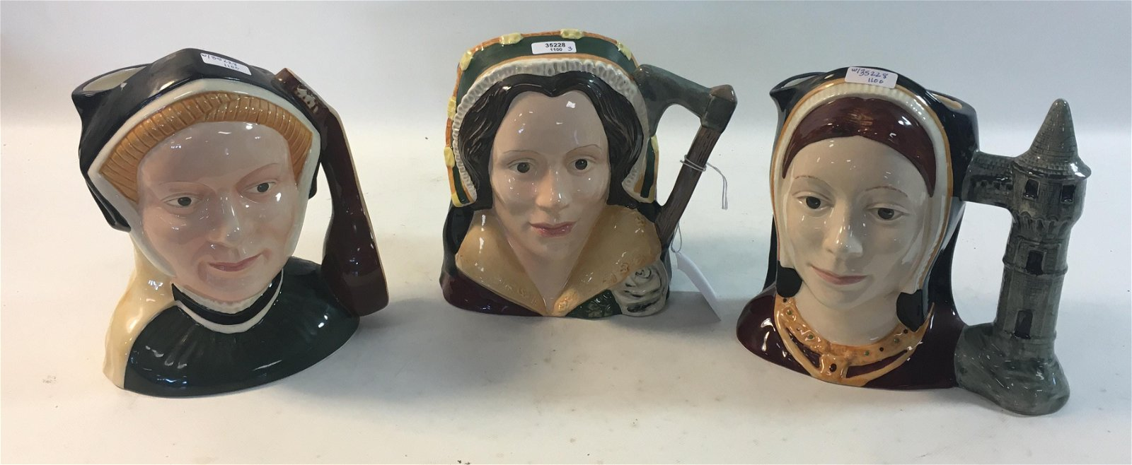 SET OF 3 ROYAL DOULTON LARGE CHARACTER JUGS, CATHERINE