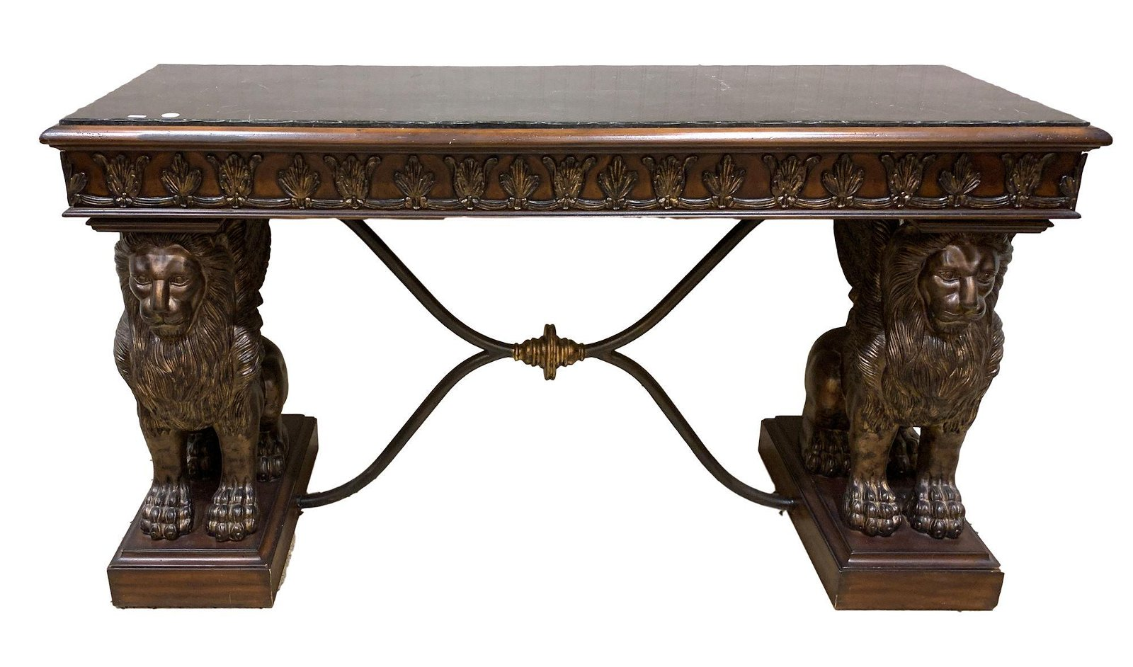 CONSOLE TABLE WITH LION PEDESTALS AND FAUX MARBLE TOP