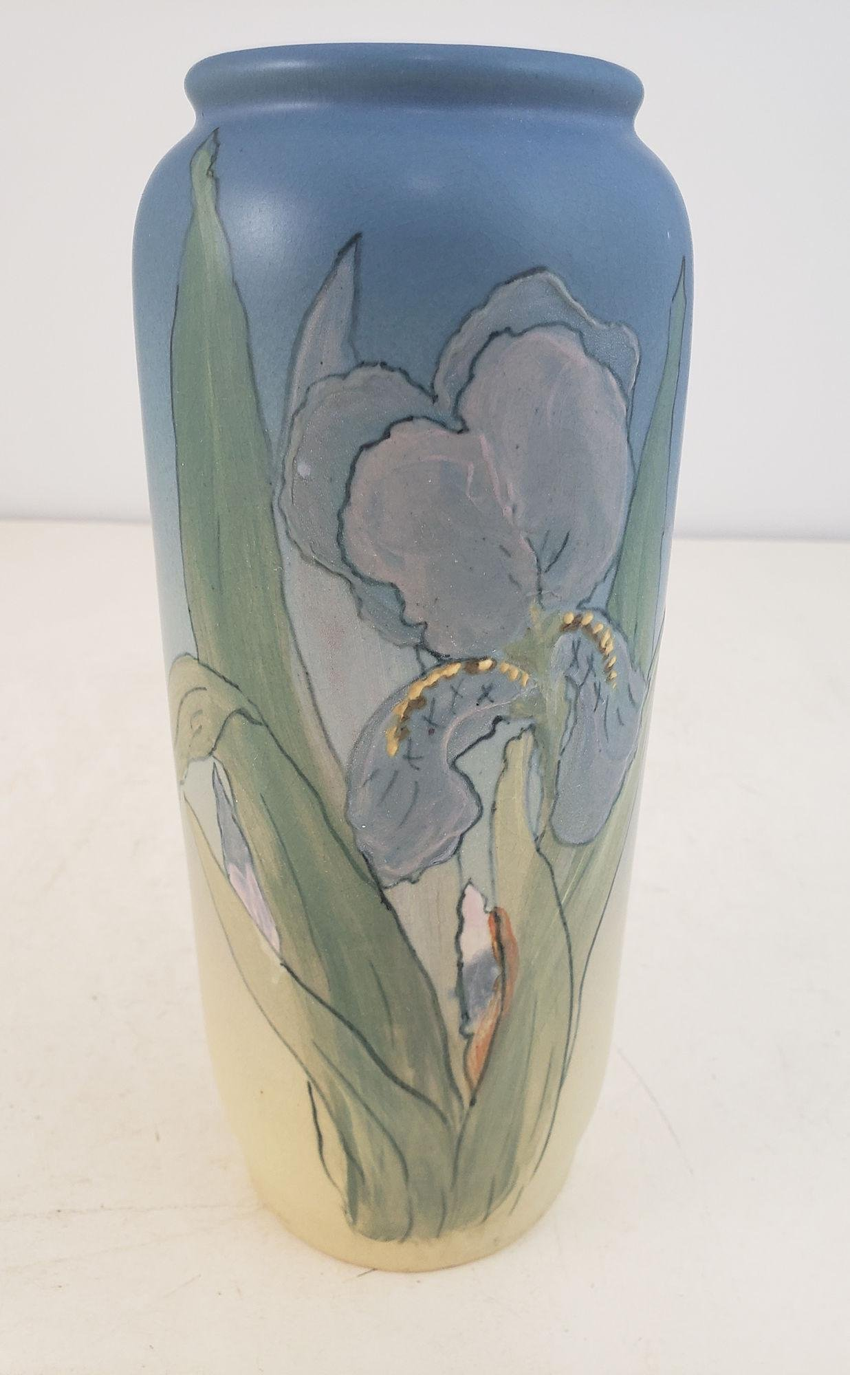 WELLER POTTERY HUDSON VASE SIGNED J. HUNTER ,IRIS