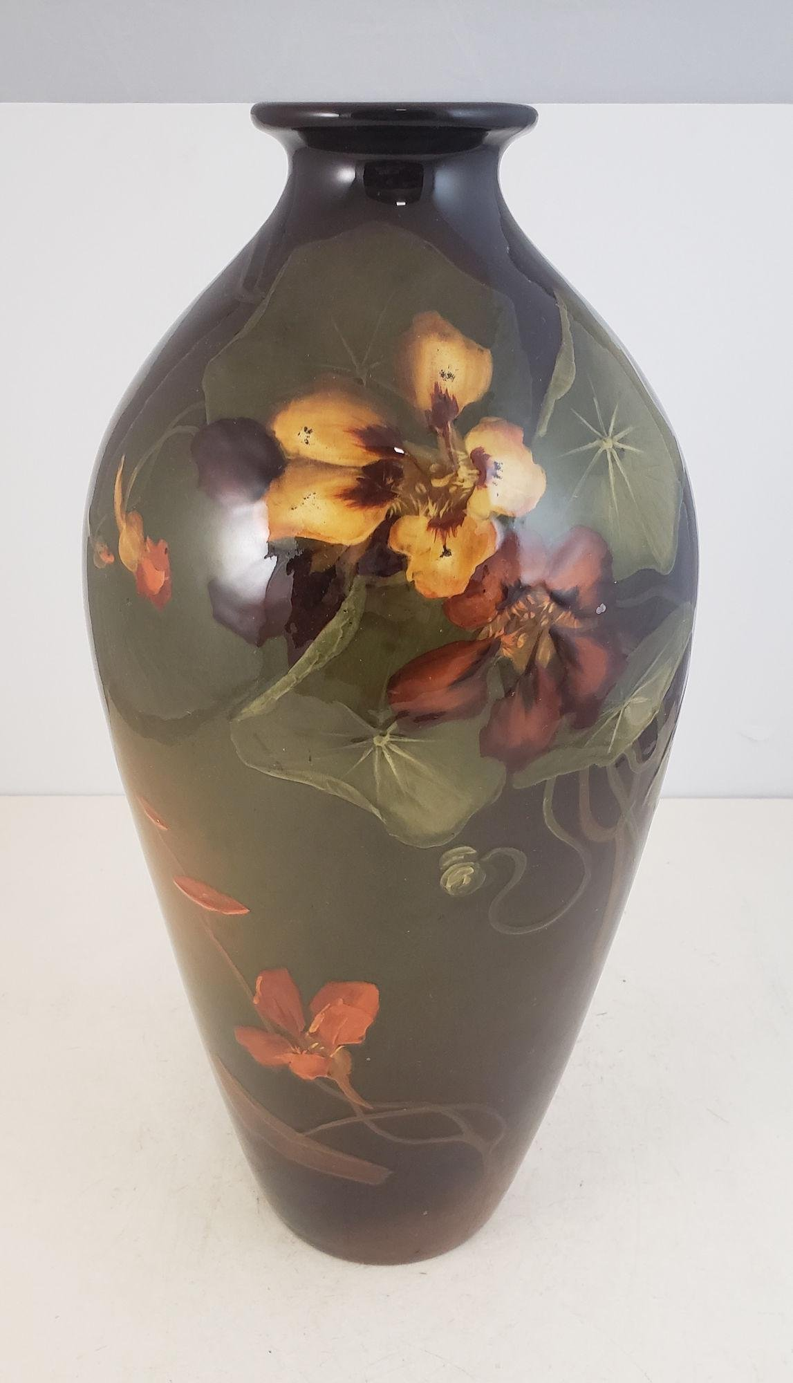 WELLER POTTERY LOUWELSA SIGNED M. LYBARGER, PANSY