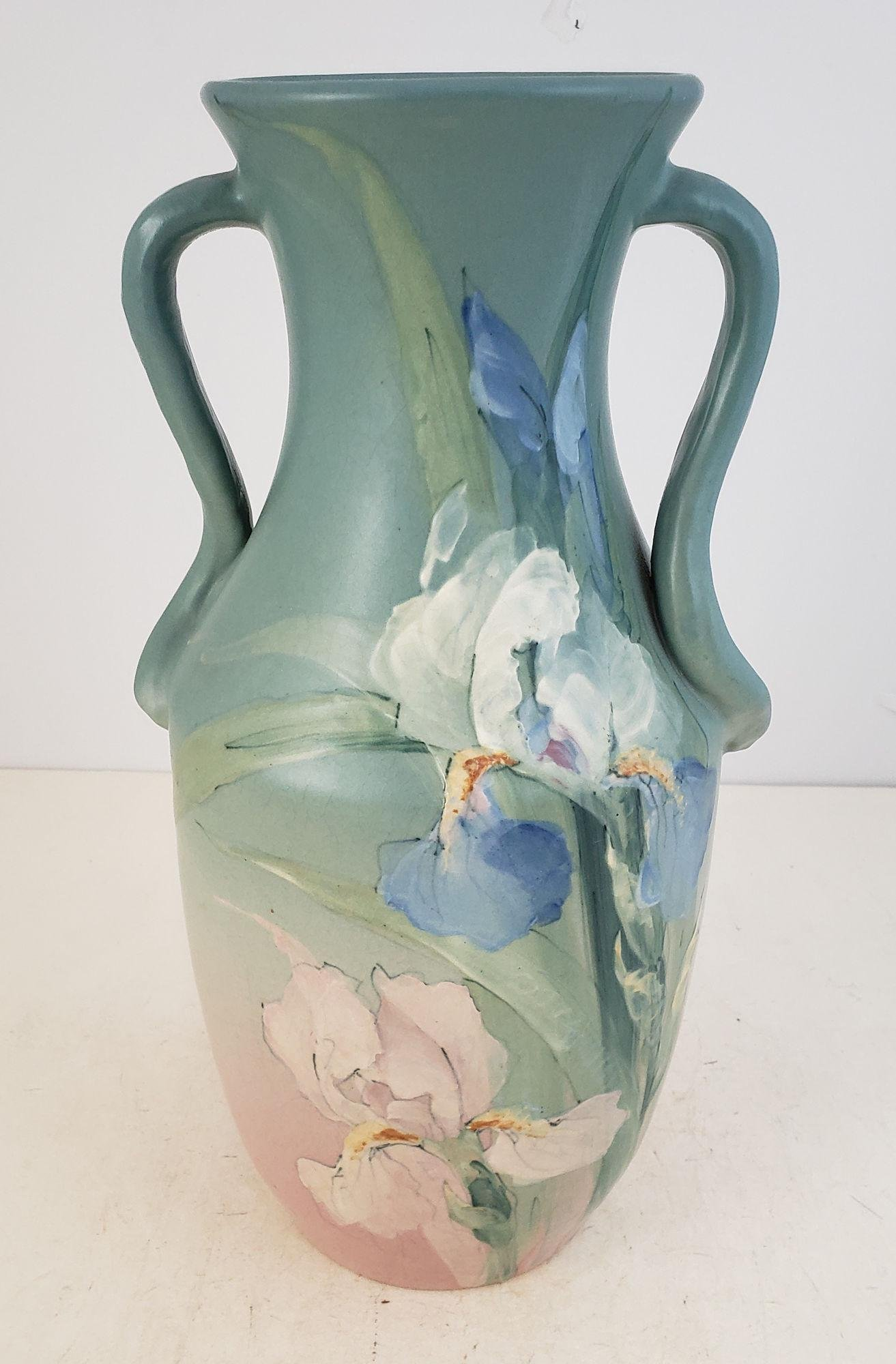 WELLER POTTERY HUDSON? TWO HANDLED VASE WITH IRIS