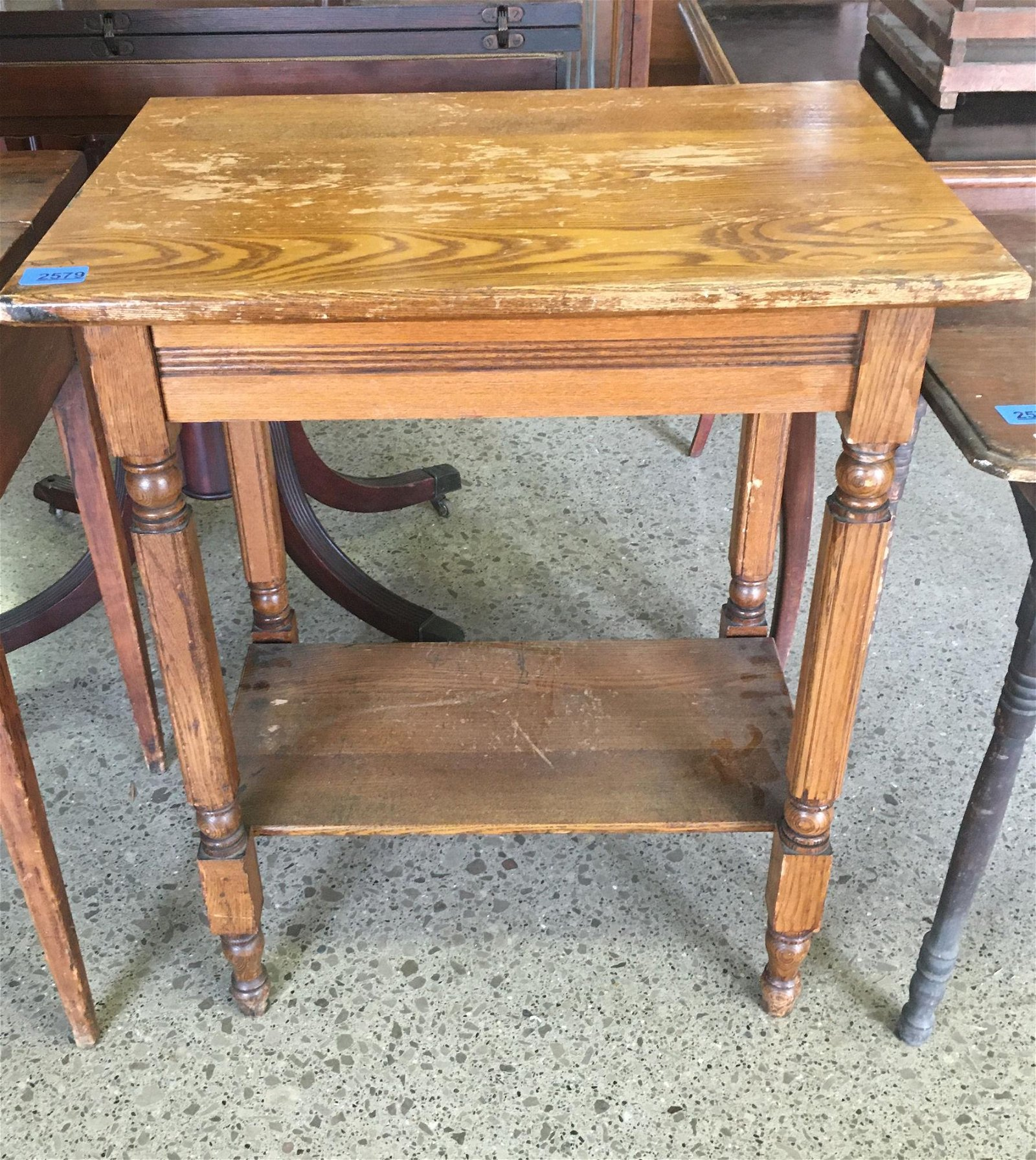 "TURN OF THE CENTURY OAK TWO TIER STAND, 24"" X 17"" X 29"""