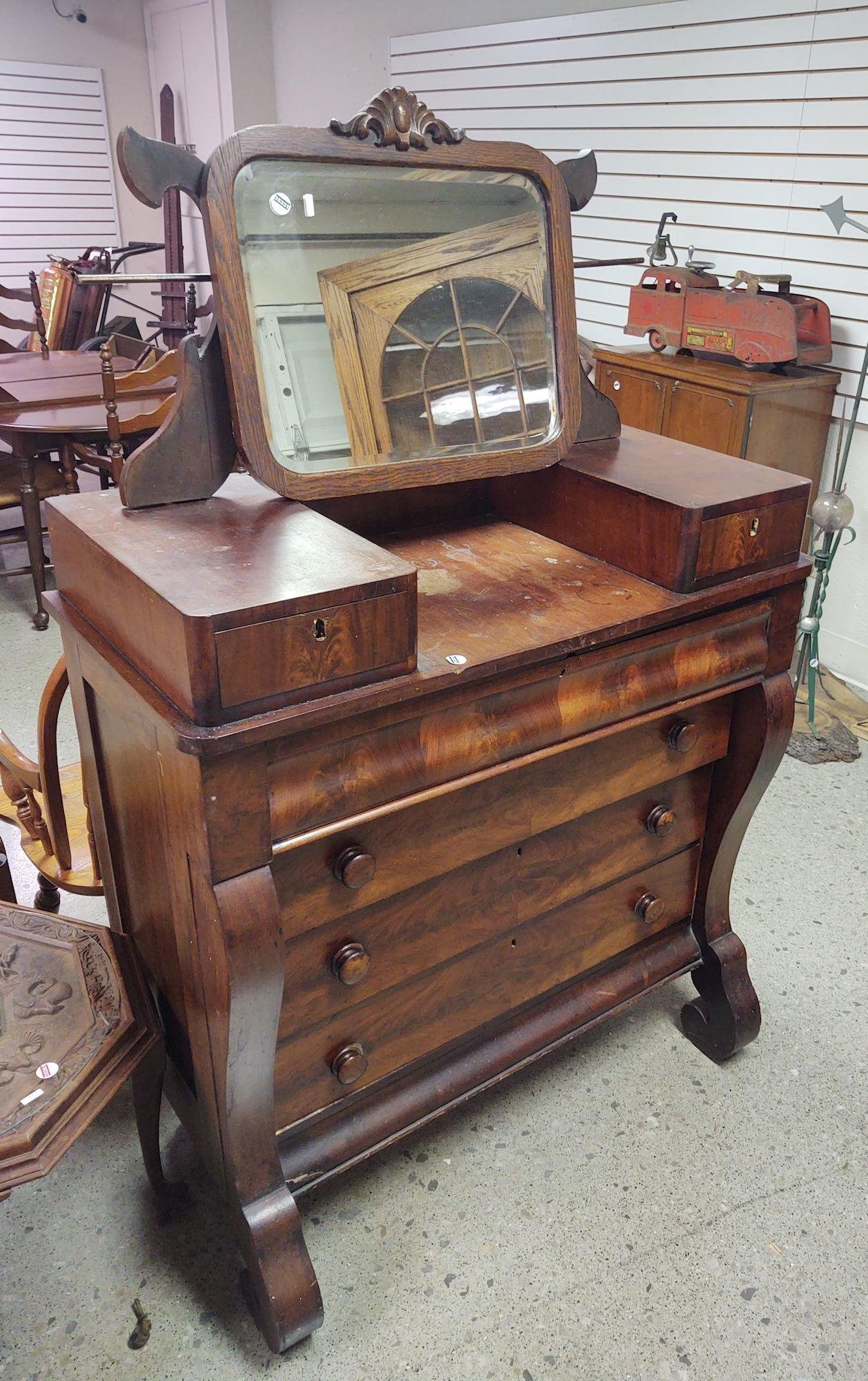 FLAME MAHOGANY EMPIRE CHEST WITH 4 DRAWERS AND 2