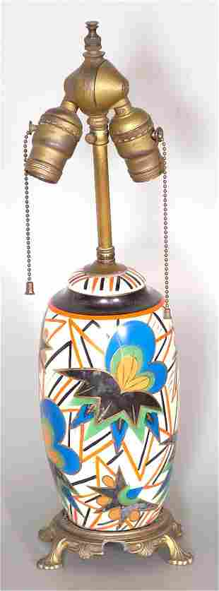 1930'S DECORATED CHINA TABLE LAMP W/METAL BASE,