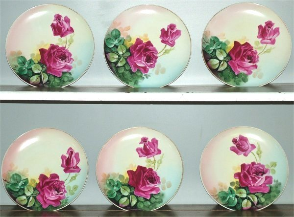 """15009: (6) LIMOGES HAND PAINTED ROSE PLATES, 9"""" DIAM"""