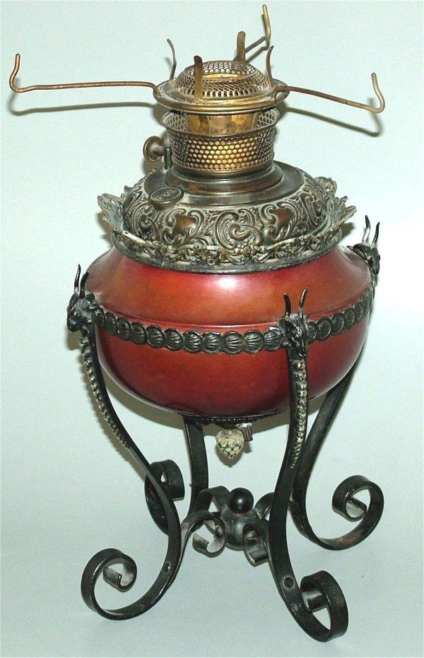 15011: BRADLEY & HUBBARD BRASS & METAL KEROSENE LAMP BA