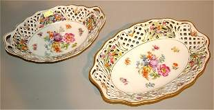"""(2) SCHUMANN CHINA OVAL DISHES, 9"""" & 10 1/2""""L"""