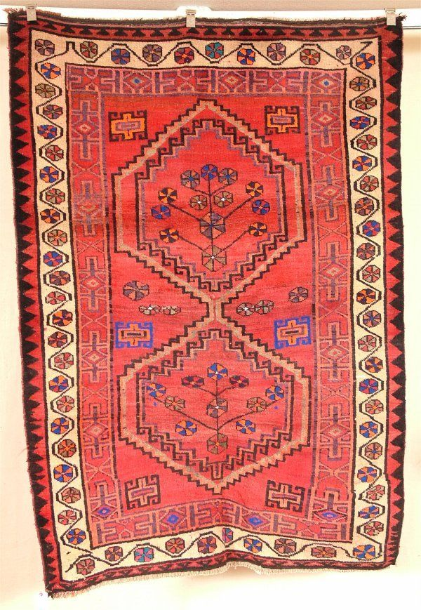 15100: ORIENTAL RUG SEMI ANTIQUE PERSIAN AFSHAR 4.9 X 6